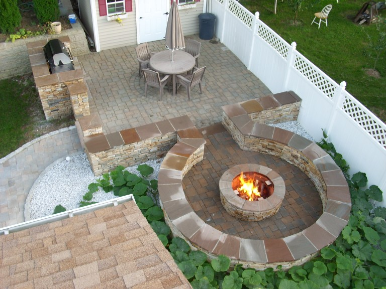 Stone Firepit – Walkway and Barbeque