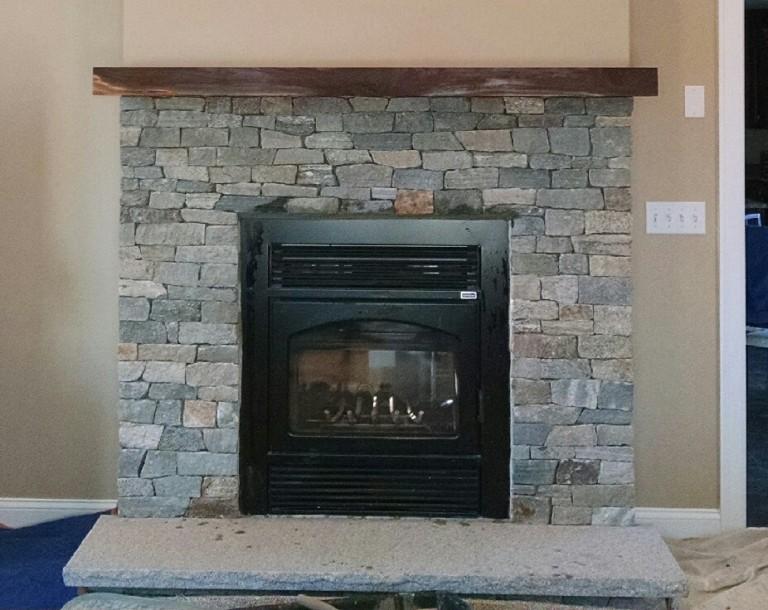 Fireplace Veneer w/ Boston Blend Ledge-stone & Granite Hearth